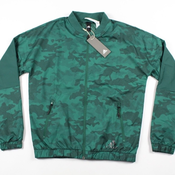 586cbe9894b6 New Adidas Spell Out Camouflage Bomber Jacket Mens
